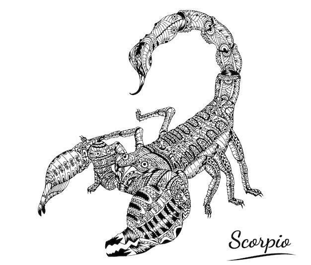 Vettore del tatuaggio dello scorpione su fondo bianco.