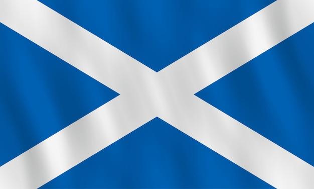 Bandiera della scozia con effetto ondeggiante, proporzione ufficiale.