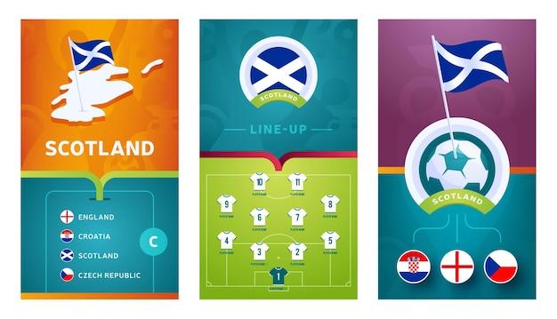 Banner verticale di calcio europeo della squadra della scozia impostato per i social media. bandiera della scozia gruppo d con mappa isometrica, bandierina con spilla, calendario delle partite e formazione sul campo di calcio