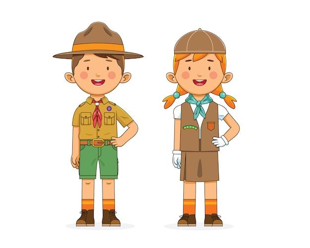 Boy scout personaggio e ragazza in uniforme