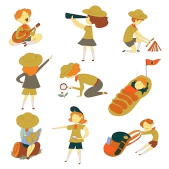 Scout per diverse attività. osservazione, sonno, riposo. illustrazione su sfondo bianco.