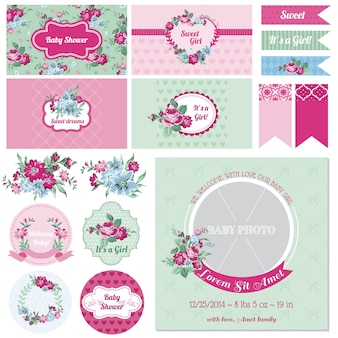 Scrapbook design elements baby shower Vettore Premium