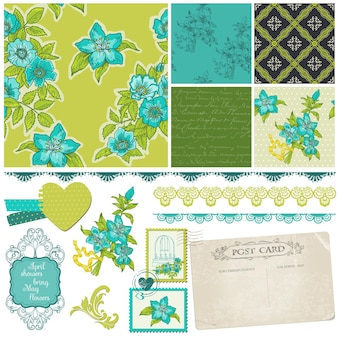 Elementi di design scrapbook - fiori blu