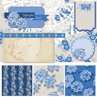 Elementi di design scrapbook fiori vintage