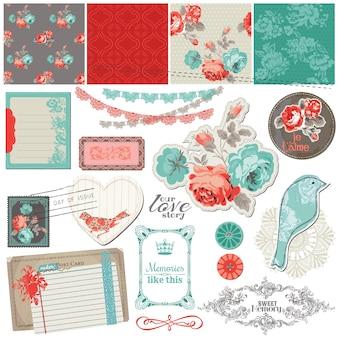 Elementi di design scrapbook rose vintage