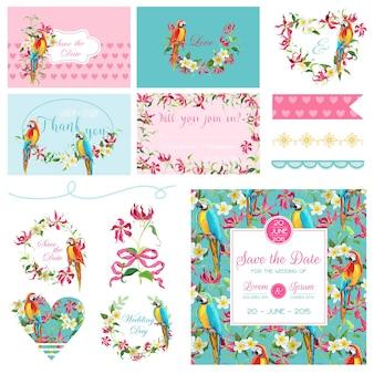 Elementi di design dell'album. set matrimonio fiori tropicali e uccelli pappagallo