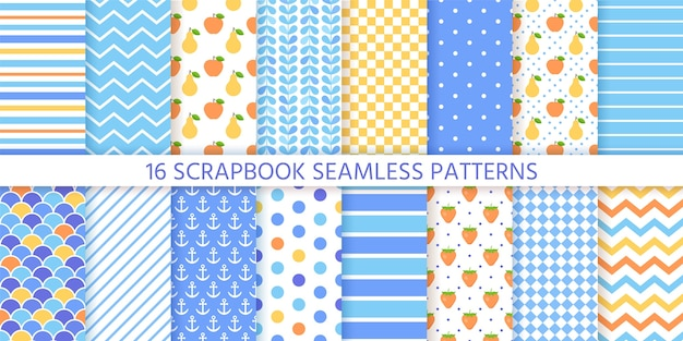 Scrapbook seamless pattern impostato. texture alla moda.