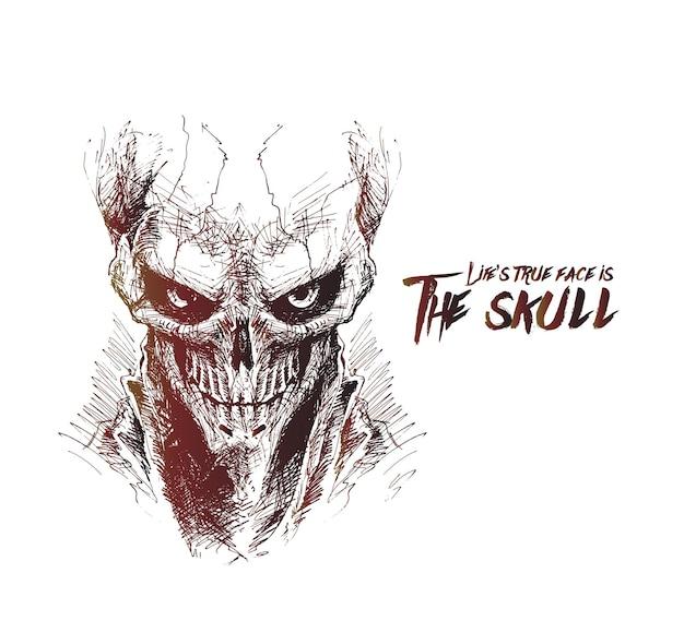 Scratch devil skull vampire vector illustration