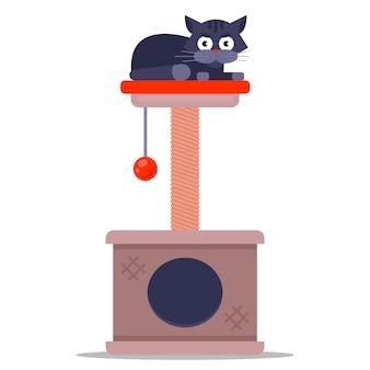 Tiragraffi per un gatto domestico. Vettore Premium