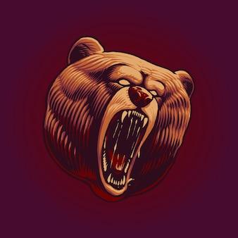 Illustrazione vettoriale di testa di orso urlante