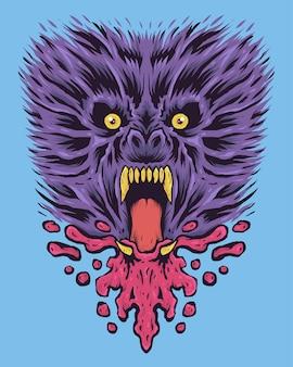 Lupo mannaro colorato di grido con sangue schizzato