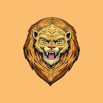 Leone pazzo urlante o leone. animale per tatuaggio o etichetta. bestia ruggente. linea arte disegnata a mano incisa
