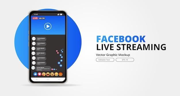 Design dello schermo per facebook live streaming su smartphone