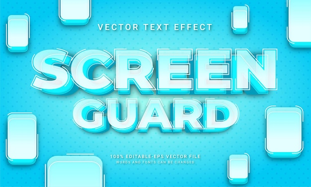Tecnologia a tema effetto stile testo di protezione dello schermo 3d
