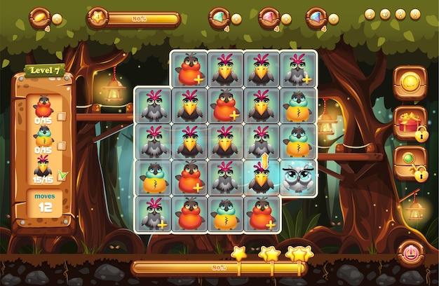 Lo schermo è il campo di gioco per il gioco con booster, barra di avanzamento, cornici e personaggi