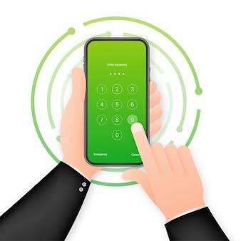 Modello di sfondo dello smartphone con password di autenticazione blocco schermo