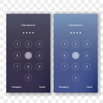 Blocco schermo sblocca password numerica per modello di visualizzazione smartphone.