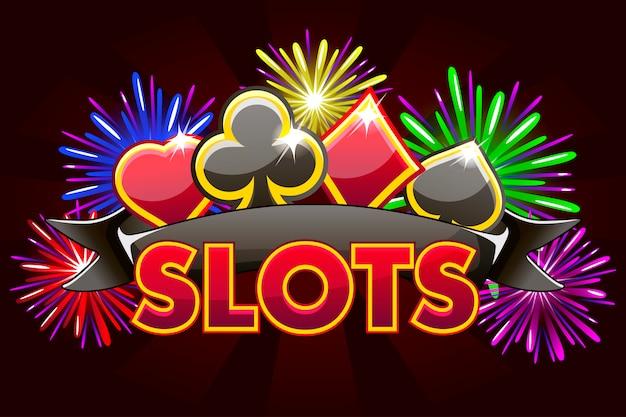 Schermate logo slot, banner su redbackground con icone, nastro e fuochi d'artificio, screensaver gioco sfondo. illustrazione
