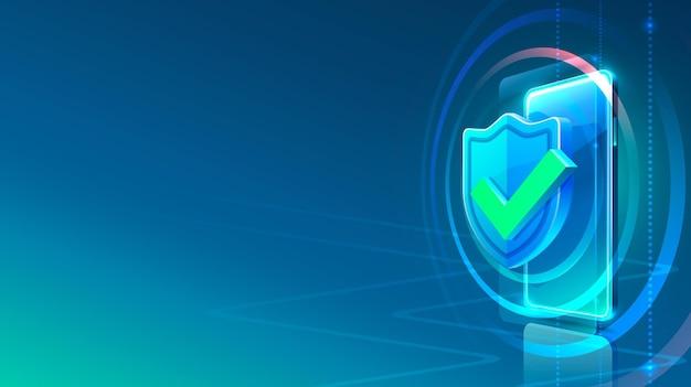 Lucchetto con icona al neon dello schermo del telefono moderno. sfondo blu.