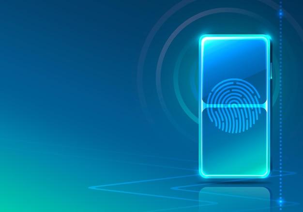 Icona al neon del telefono dello schermo scanner moderno. sfondo blu.