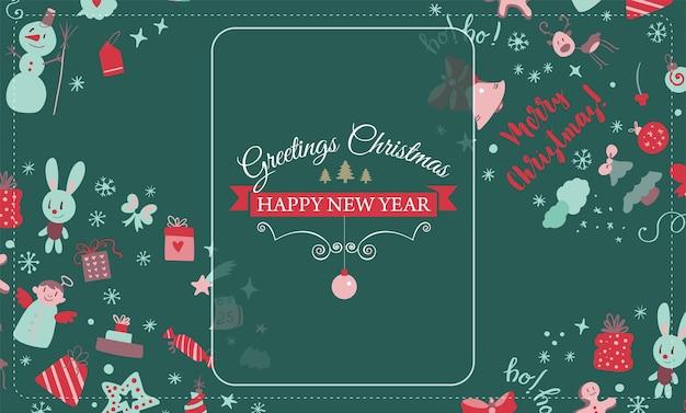 Salvaschermo con elementi di design natalizio in stile scarabocchio cartolina di natale vettore
