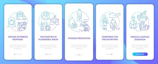 Screening per la schermata della pagina dell'app mobile a bordo della malnutrizione