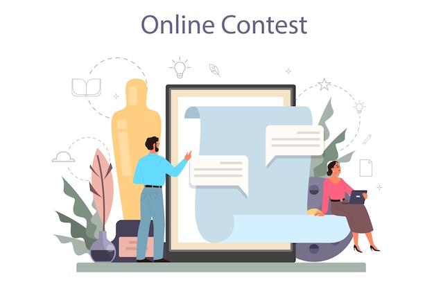 Servizio online di sceneggiatore o set di piattaforme.
