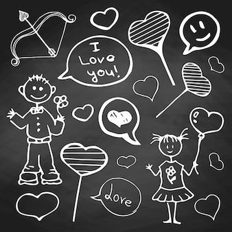 Scarabocchio alla lavagna. ragazzo con una ragazza di cuori diversi e iscrizioni sull'amore. impostato per san valentino.