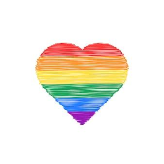 Icona del cuore colorato scarabocchio. concetto di non tradizionale, felice giorno di san valentino, stile di vita, genere, matrimonio, gblt. isolato su sfondo bianco. illustrazione vettoriale di design logo moderno stile disegnato a mano