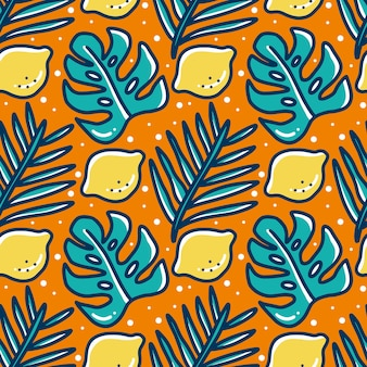 Scribble pattern di alghe disegnate a mano e frutta lime
