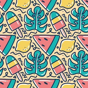 Scribble pattern di alghe disegnate a mano, gelato e frutta lime