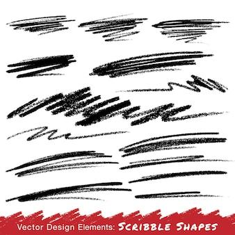 Scribble strisci disegnati a mano a matita, elemento di design del logo vettoriale