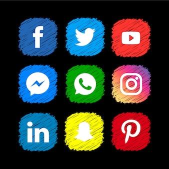 Collezione di icone social media scribble Vettore Premium