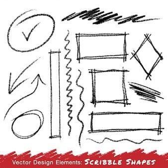 Scribble macchie disegnate a mano a matita. vettore