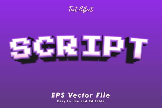 Effetto di testo dello script modificabile e effetto tipografico facile da usare