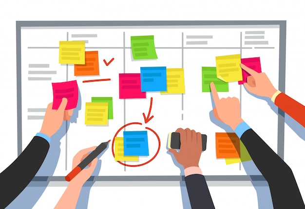 Scrum board. elenco delle attività, pianificazione delle attività del team e diagramma di flusso del piano di collaborazione. illustrazione del fumetto di schema di flusso di lavoro di affari