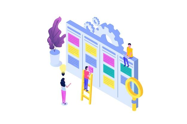 Scrum o canban task board concetto isometrico. note per lo sviluppo agile del software.