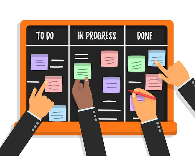 Scrum task board concept con mani che tengono colorate carte adesive