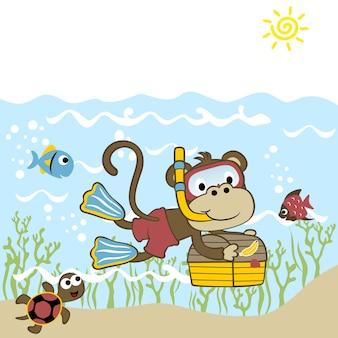 Immersione subacquea, vettore di cartone animato