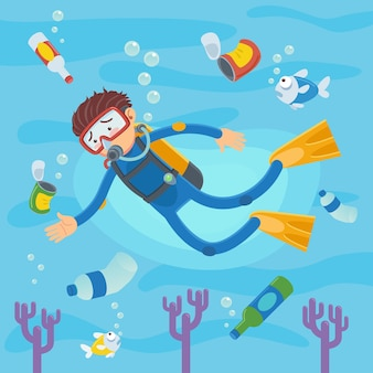 Operatori subacquei che nuotano sulle barriere coralline e sui pesci. dell'inquinamento in mare