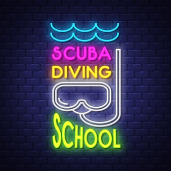 Iscrizione del segno al neon della scuola di immersione con bombole