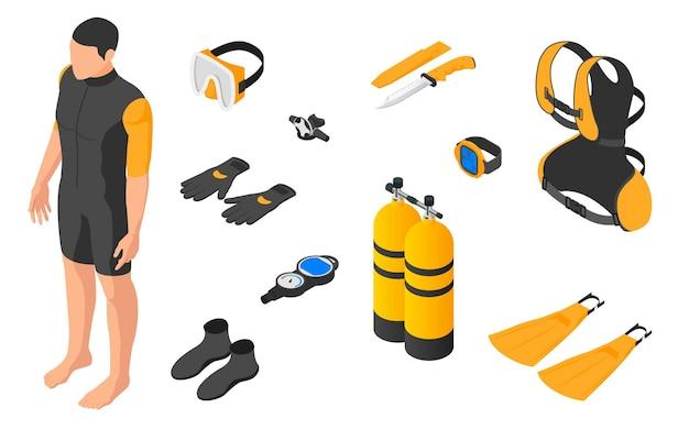 Immersioni in subacquea. set di attrezzatura subacquea su bianco