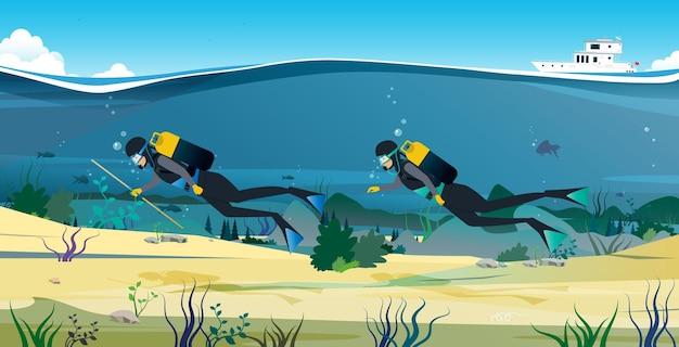 Un istruttore subacqueo che insegna una lezione di immersione nei mari ormeggiati.
