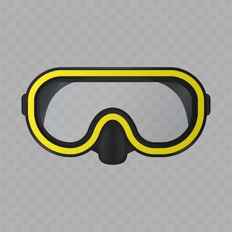 Maschera subacquea isolata su sfondo bianco. maschera da snorkeling realistica.