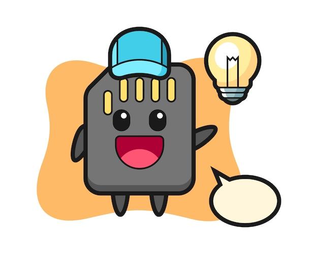 Cartone animato di personaggio sd card ottenendo l'idea, design in stile carino per t-shirt