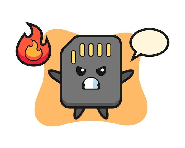 Cartone animato di carattere sd card con gesto arrabbiato, design in stile carino per t-shirt
