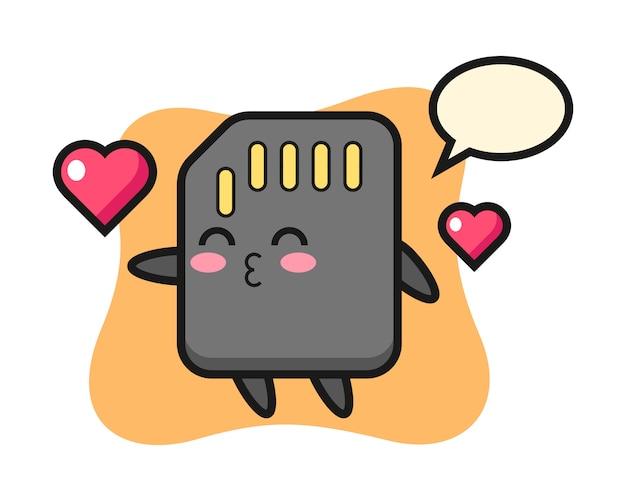 Cartone animato di carattere sd card con gesto bacio, design in stile carino per t-shirt