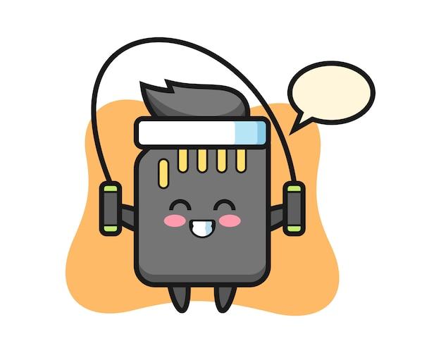 Personaggio dei cartoni animati di scheda sd con salto della corda, design in stile carino per t-shirt