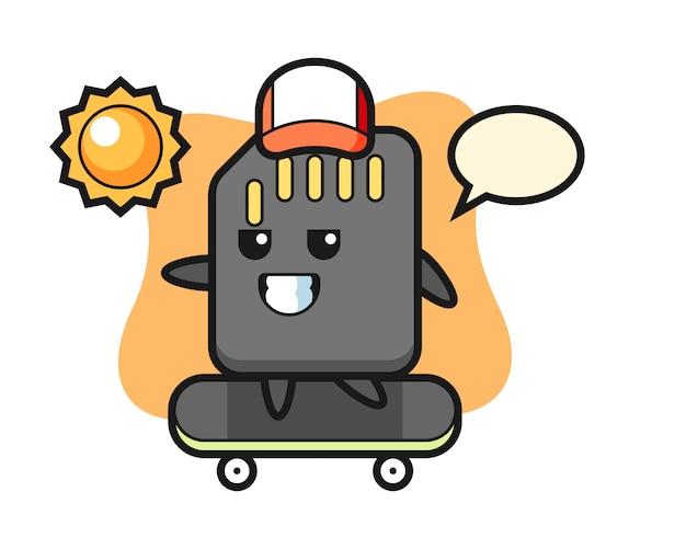 Illustrazione del personaggio della scheda sd cavalcare uno skateboard, design in stile carino per maglietta