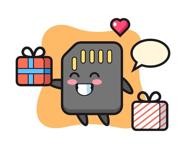 Fumetto della mascotte della scheda sd che dà il regalo, design in stile carino per maglietta